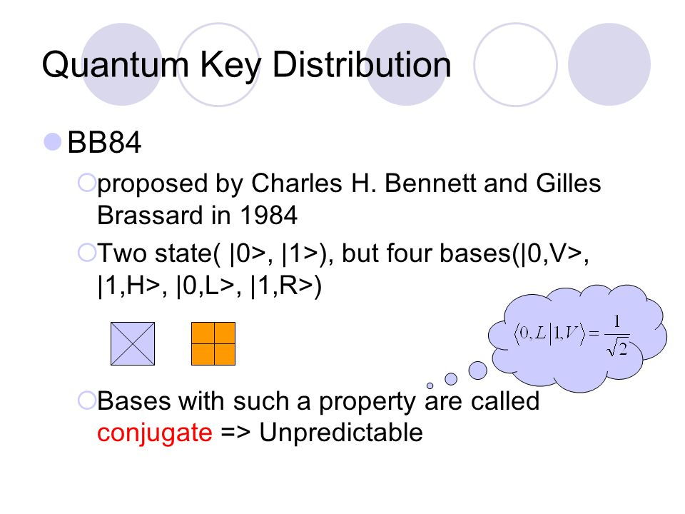 Quantum Key Distribution BB84  proposed by Charles H.