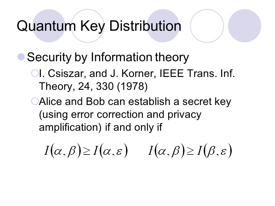 Quantum Key Distribution Security by Information theory  I.