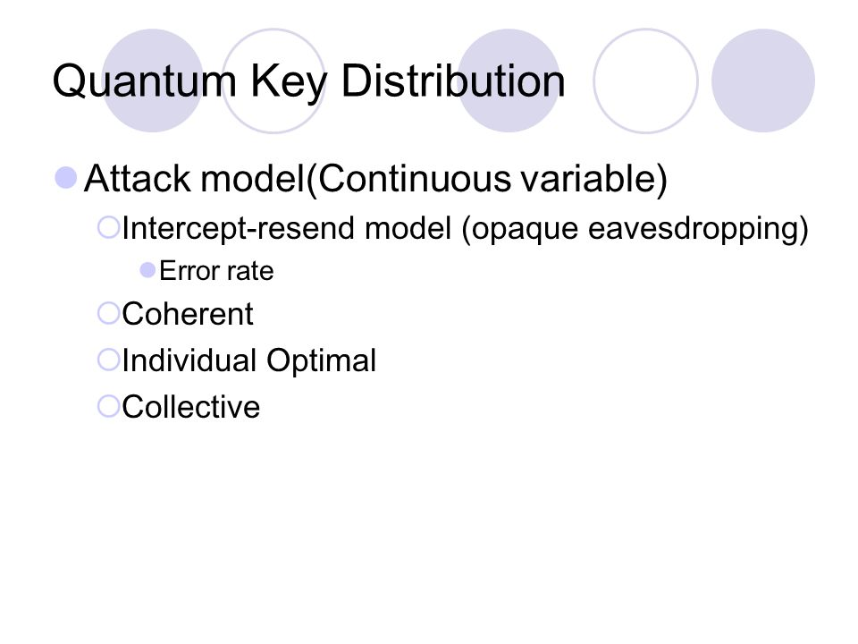 Quantum Key Distribution Attack model(Continuous variable)  Intercept-resend model (opaque eavesdropping) Error rate  Coherent  Individual Optimal  Collective