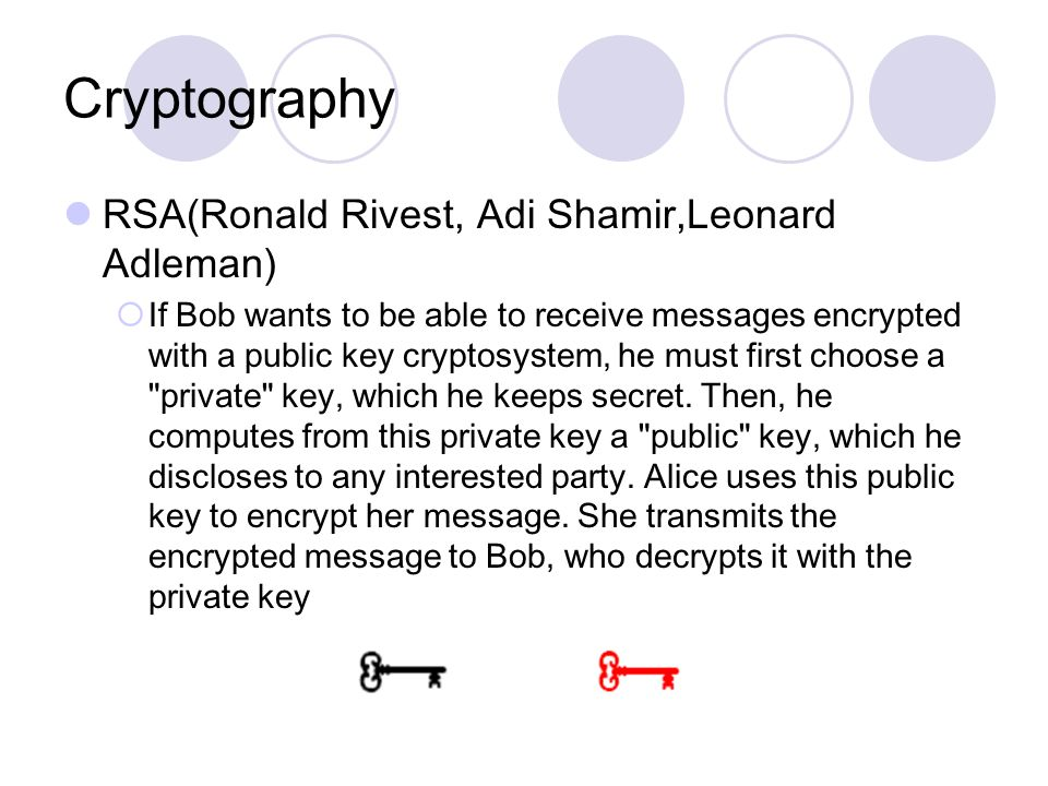 Cryptography RSA(Ronald Rivest, Adi Shamir,Leonard Adleman)  If Bob wants to be able to receive messages encrypted with a public key cryptosystem, he must first choose a private key, which he keeps secret.