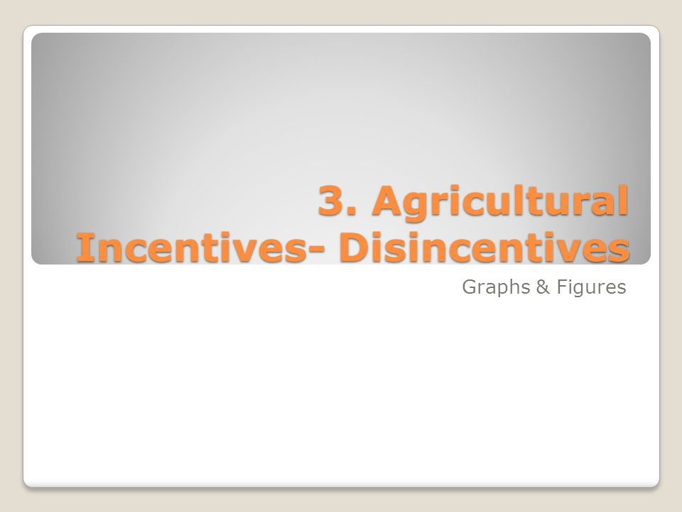 3. Agricultural Incentives- Disincentives Graphs & Figures