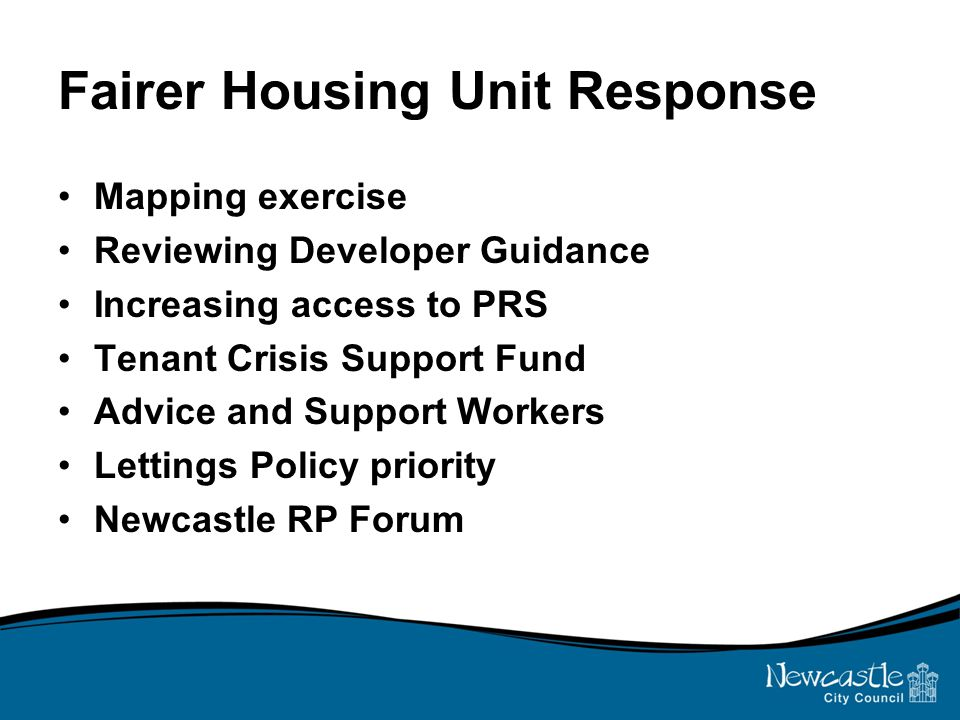 Fairer Housing Unit Response Mapping exercise Reviewing Developer Guidance Increasing access to PRS Tenant Crisis Support Fund Advice and Support Workers Lettings Policy priority Newcastle RP Forum