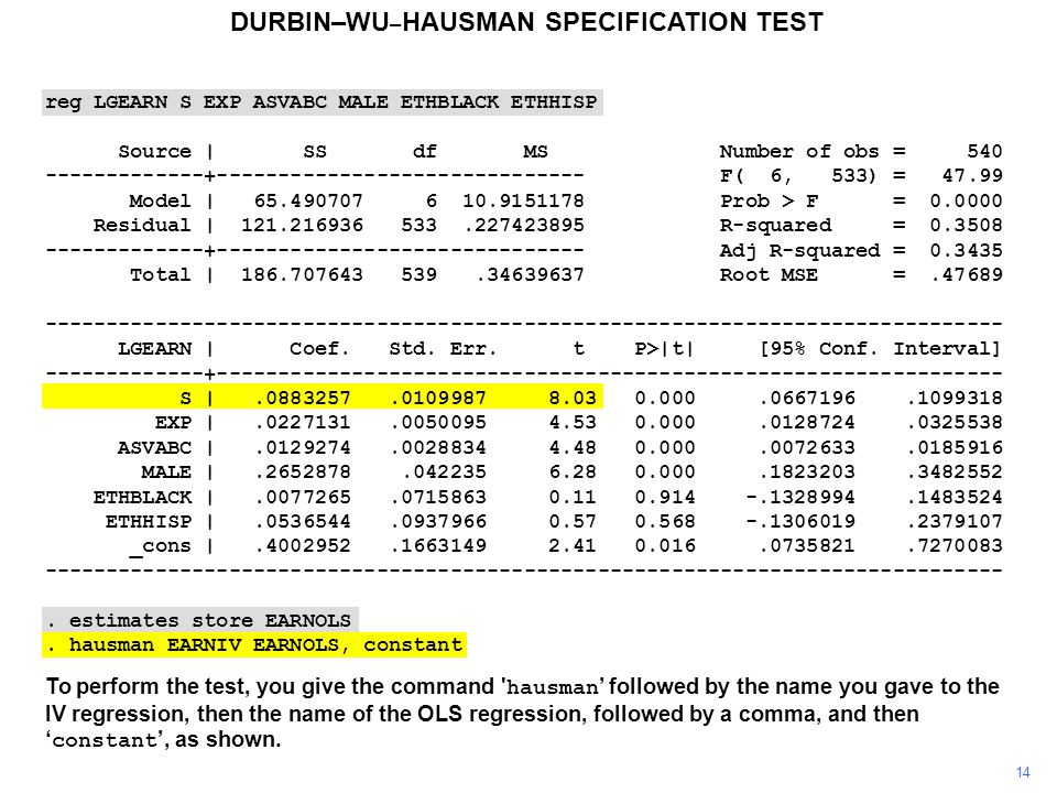 14 To perform the test, you give the command hausman ' followed by the name you gave to the IV regression, then the name of the OLS regression, followed by a comma, and then ' constant ', as shown.