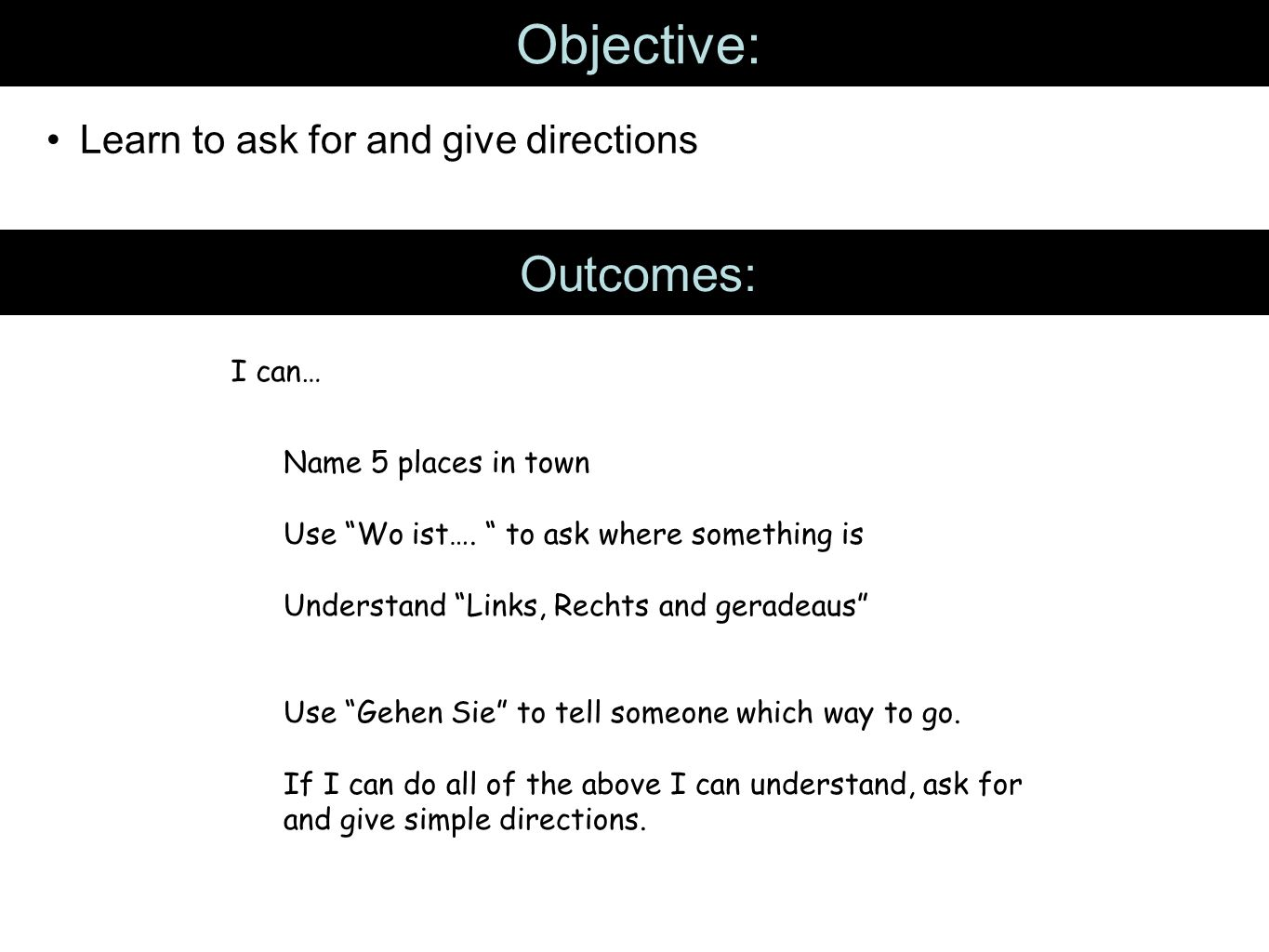 Objective: Learn to ask for and give directions Outcomes: I can… Name 5 places in town Use Wo ist….
