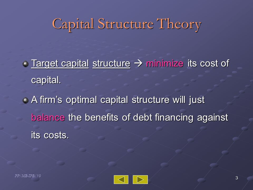 PP/MB-IPB/10 3 Capital Structure Theory Target capital structure  minimize its cost of capital.