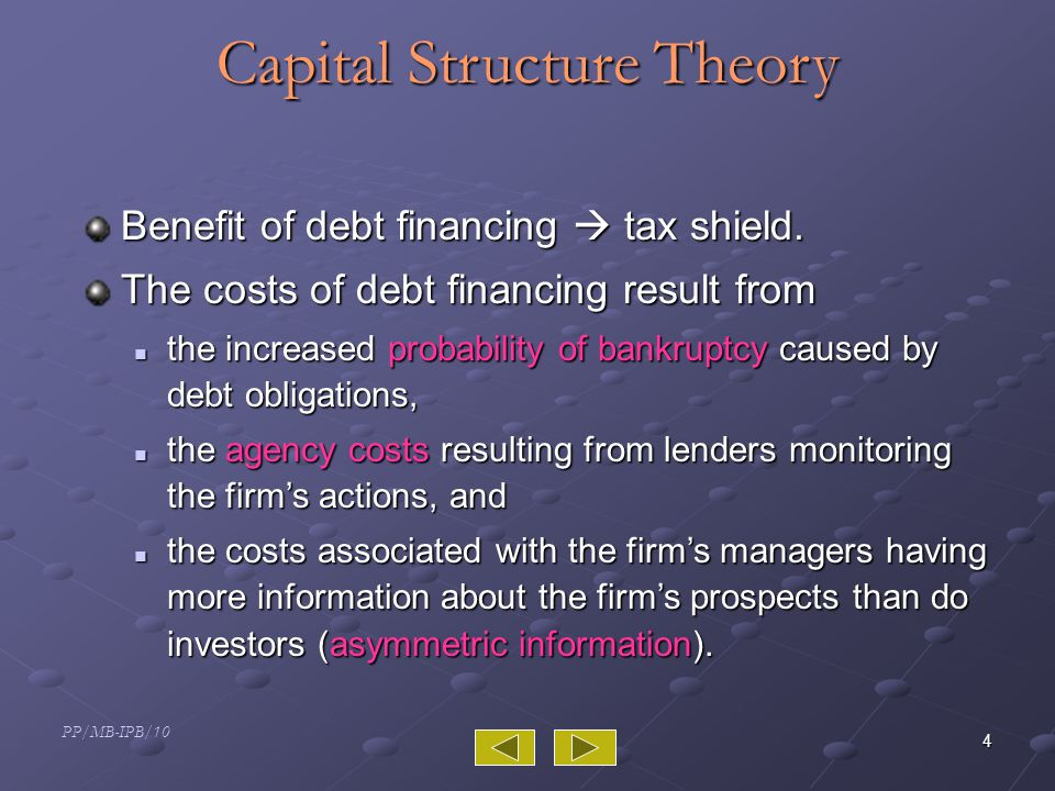 PP/MB-IPB/10 4 Capital Structure Theory Benefit of debt financing  tax shield.