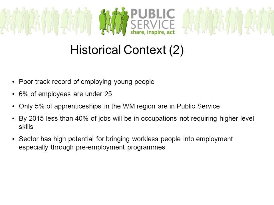Poor track record of employing young people 6% of employees are under 25 Only 5% of apprenticeships in the WM region are in Public Service By 2015 less than 40% of jobs will be in occupations not requiring higher level skills Sector has high potential for bringing workless people into employment especially through pre-employment programmes Historical Context (2)
