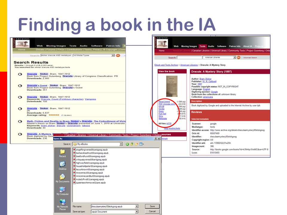 Finding a book in the IA