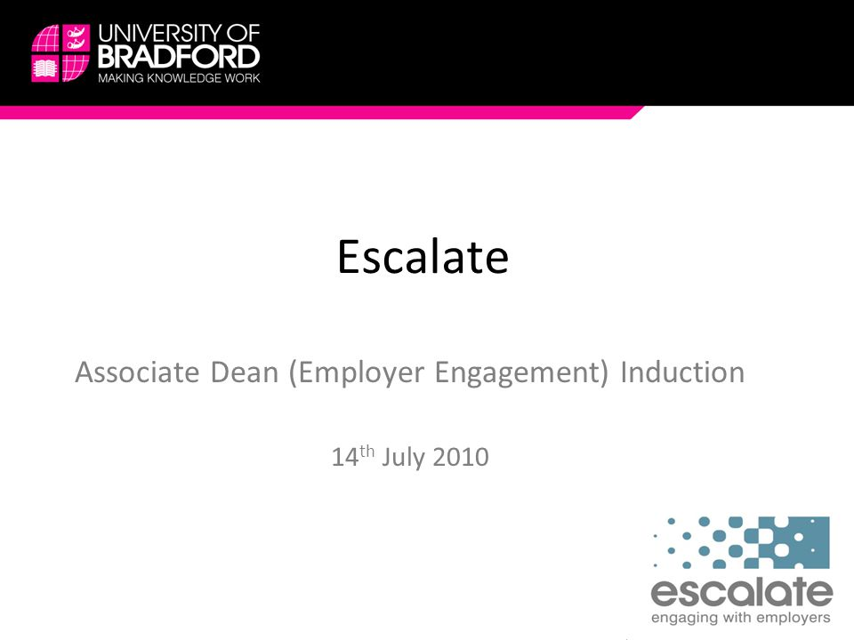Escalate Associate Dean (Employer Engagement) Induction 14 th July 2010