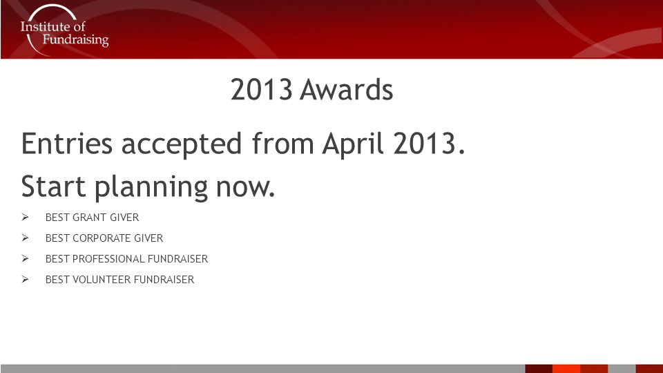2013 Awards Entries accepted from April 2013. Start planning now.
