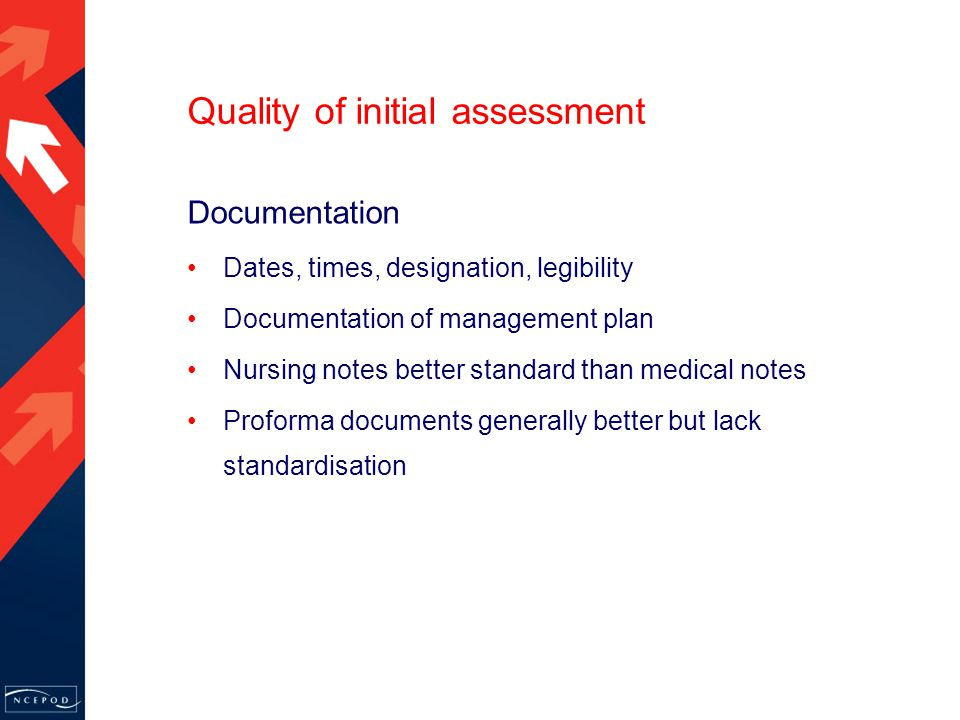 Documentation Dates, times, designation, legibility Documentation of management plan Nursing notes better standard than medical notes Proforma documents generally better but lack standardisation