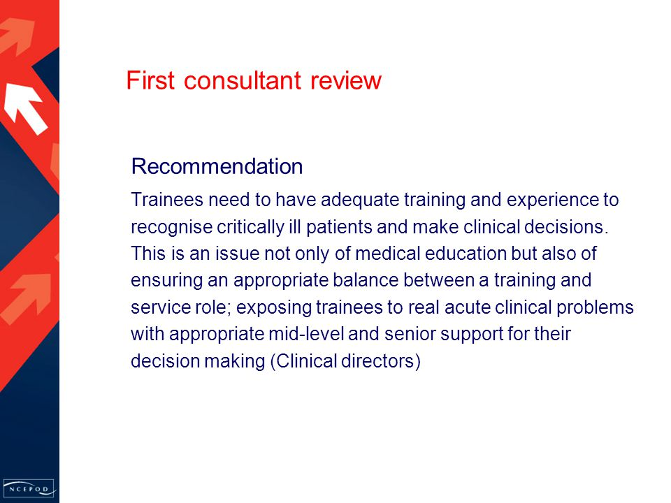 First consultant review Recommendation Trainees need to have adequate training and experience to recognise critically ill patients and make clinical decisions.