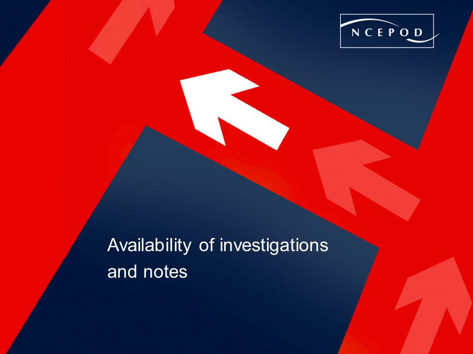 Availability of investigations and notes