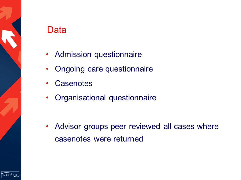 Data Admission questionnaire Ongoing care questionnaire Casenotes Organisational questionnaire Advisor groups peer reviewed all cases where casenotes were returned