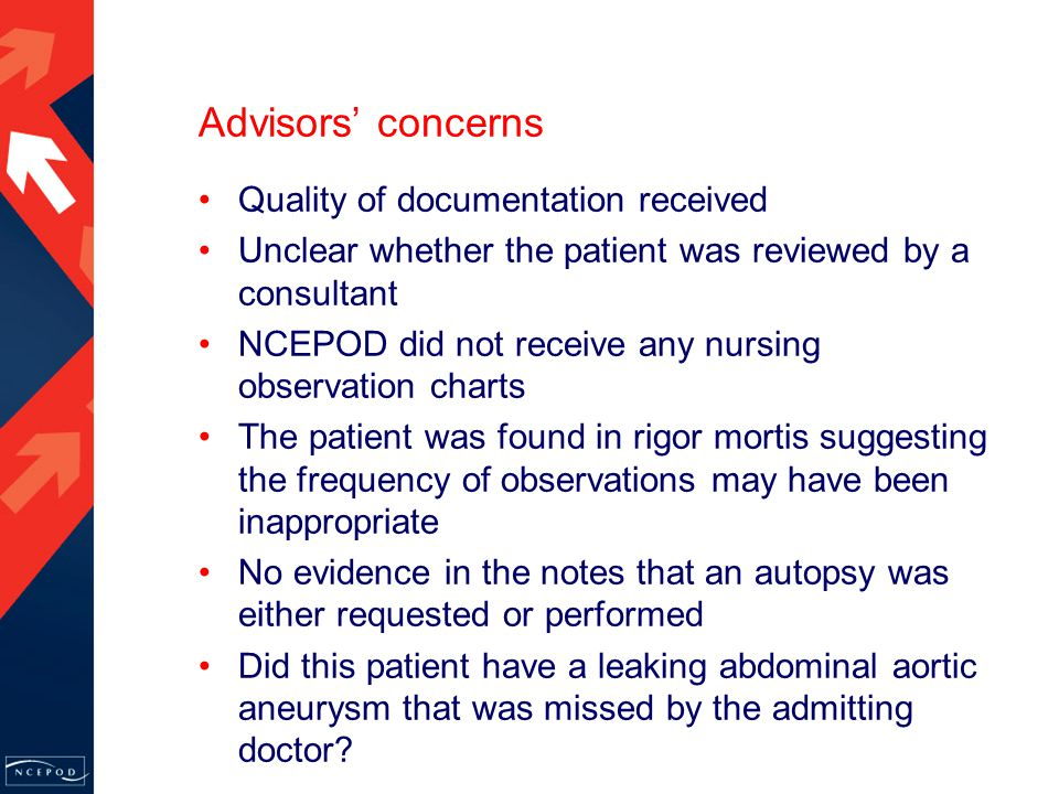 Advisors' concerns Quality of documentation received Unclear whether the patient was reviewed by a consultant NCEPOD did not receive any nursing observation charts The patient was found in rigor mortis suggesting the frequency of observations may have been inappropriate No evidence in the notes that an autopsy was either requested or performed Did this patient have a leaking abdominal aortic aneurysm that was missed by the admitting doctor
