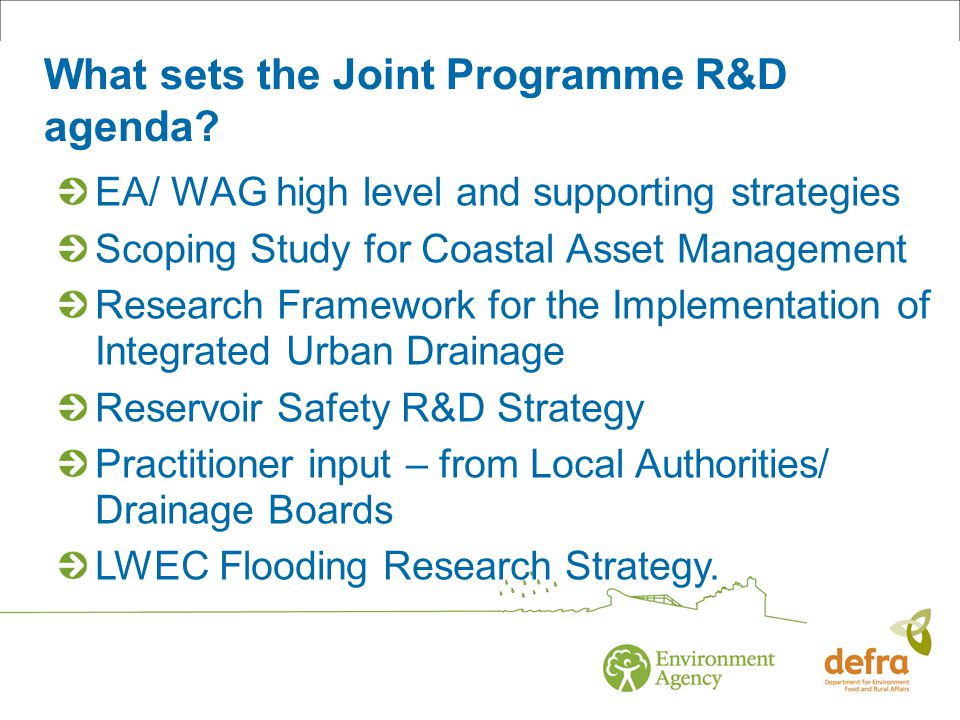What sets the Joint Programme R&D agenda.