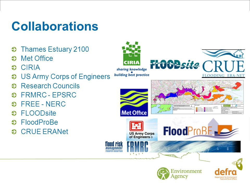 Collaborations Thames Estuary 2100 Met Office CIRIA US Army Corps of Engineers Research Councils FRMRC - EPSRC FREE - NERC FLOODsite FloodProBe CRUE ERANet