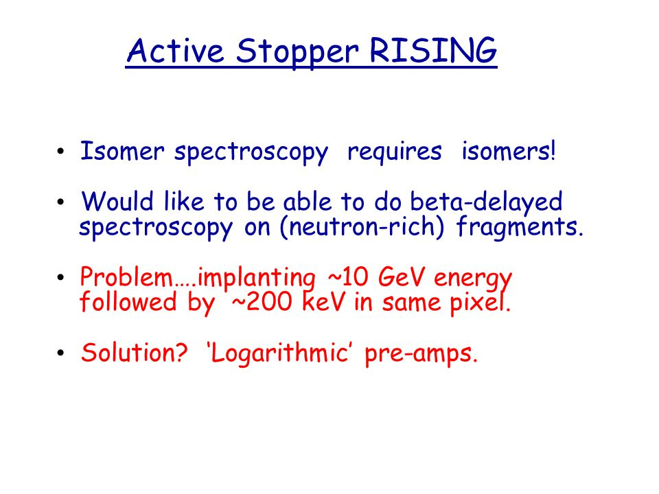 Active Stopper RISING Isomer spectroscopy requires isomers.