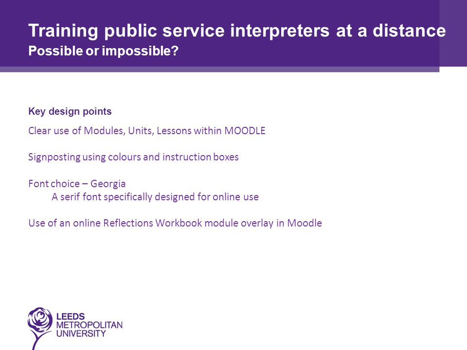 Training public service interpreters at a distance Possible or impossible.