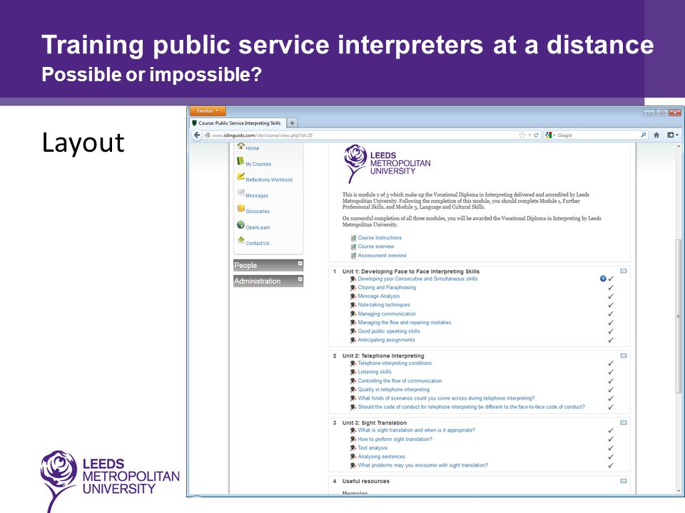 Layout Training public service interpreters at a distance Possible or impossible