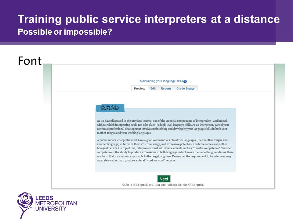 Font Training public service interpreters at a distance Possible or impossible
