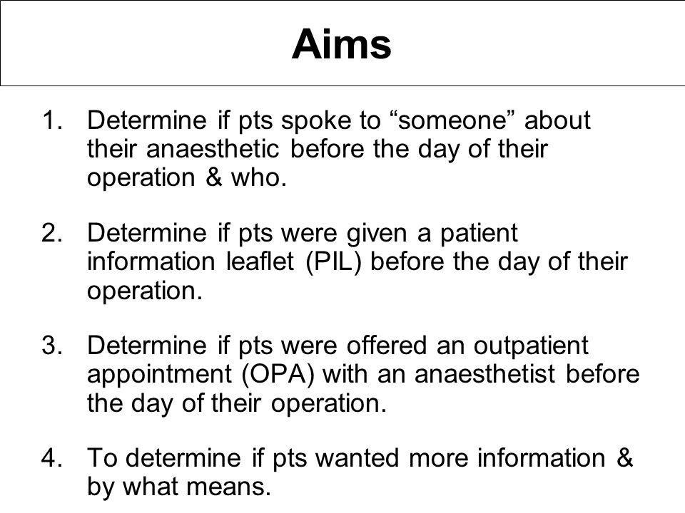 Aims 1.Determine if pts spoke to someone about their anaesthetic before the day of their operation & who.