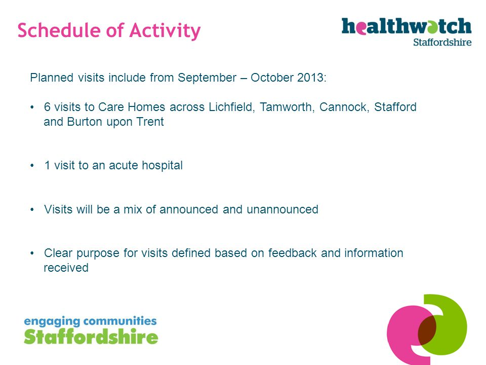 Schedule of Activity Planned visits include from September – October 2013: 6 visits to Care Homes across Lichfield, Tamworth, Cannock, Stafford and Burton upon Trent 1 visit to an acute hospital Visits will be a mix of announced and unannounced Clear purpose for visits defined based on feedback and information received
