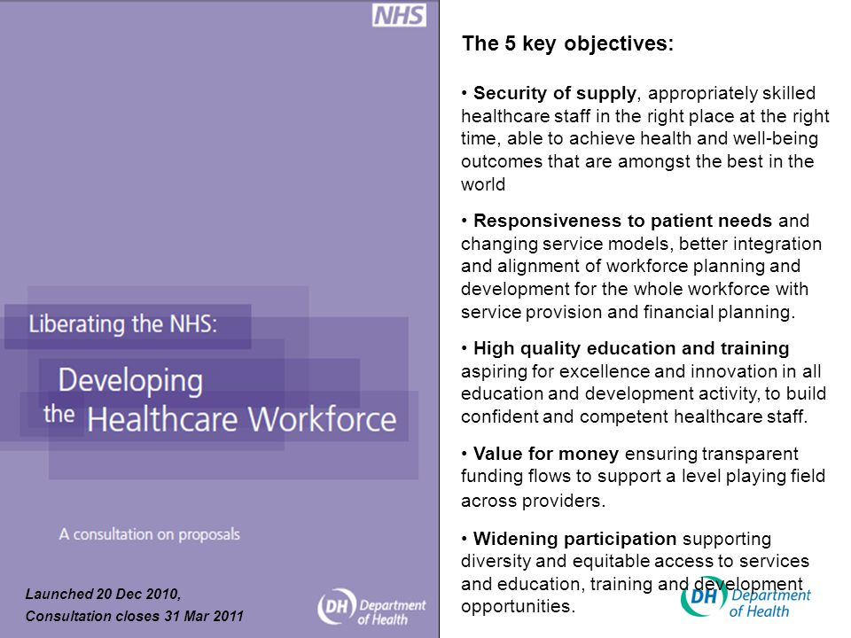 The 5 key objectives: Security of supply, appropriately skilled healthcare staff in the right place at the right time, able to achieve health and well-being outcomes that are amongst the best in the world Responsiveness to patient needs and changing service models, better integration and alignment of workforce planning and development for the whole workforce with service provision and financial planning.
