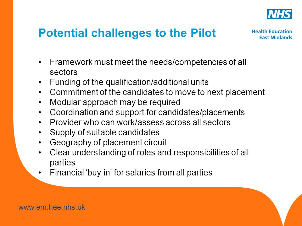 www.hee.nhs.uk www.em.hee.nhs.uk Potential challenges to the Pilot Framework must meet the needs/competencies of all sectors Funding of the qualification/additional units Commitment of the candidates to move to next placement Modular approach may be required Coordination and support for candidates/placements Provider who can work/assess across all sectors Supply of suitable candidates Geography of placement circuit Clear understanding of roles and responsibilities of all parties Financial 'buy in' for salaries from all parties