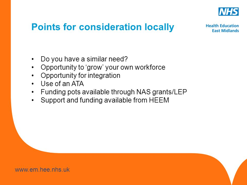 www.hee.nhs.uk www.em.hee.nhs.uk Points for consideration locally Do you have a similar need.