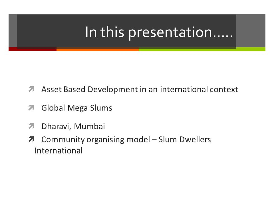 In this presentation…..