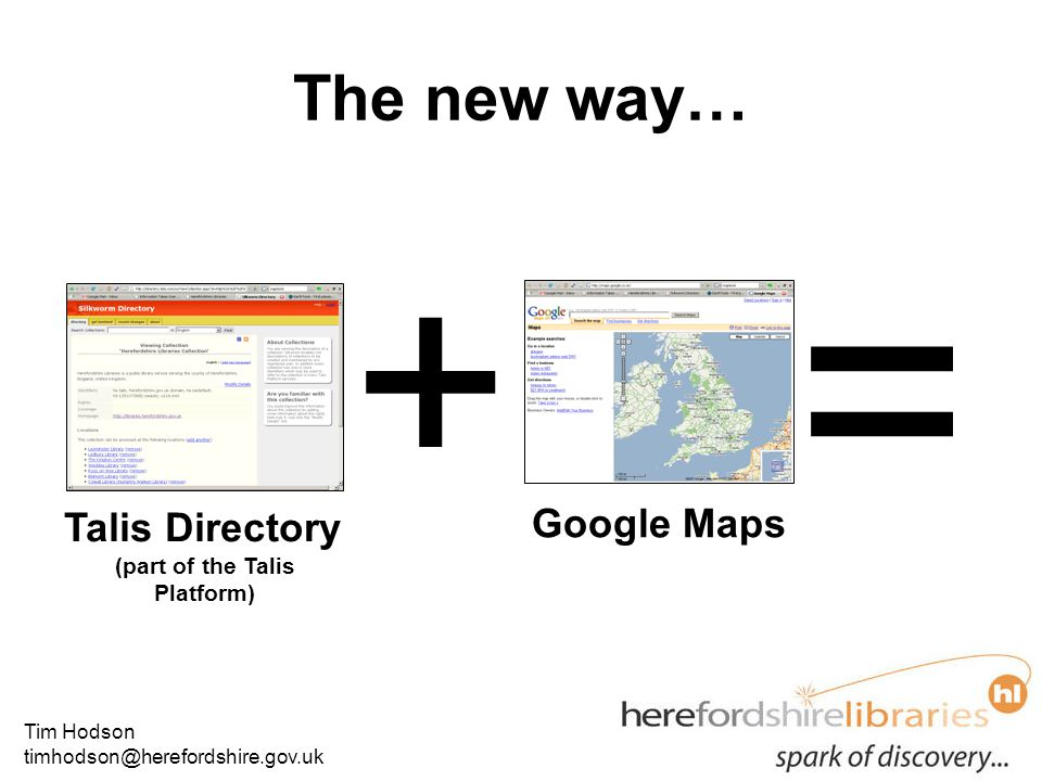 Tim Hodson timhodson@herefordshire.gov.uk The new way… Talis Directory (part of the Talis Platform) Google Maps + =