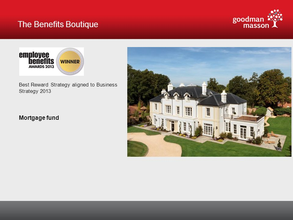 The Benefits Boutique Best Reward Strategy aligned to Business Strategy 2013 Mortgage fund