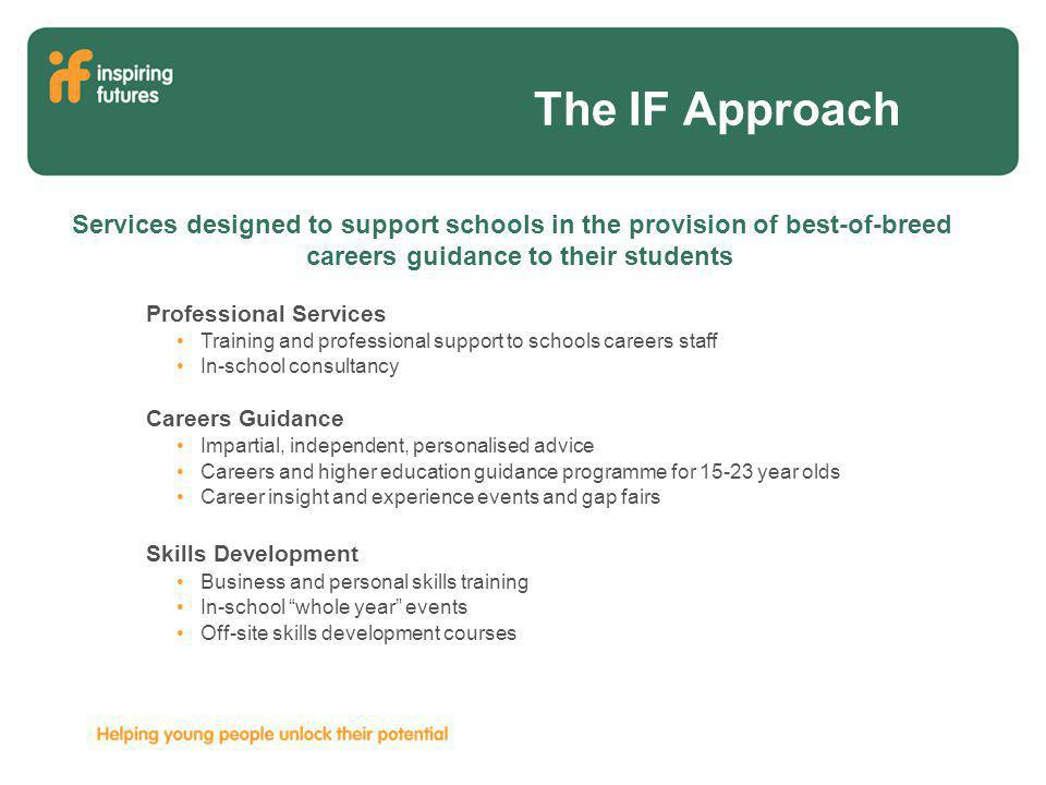 The IF Approach Professional Services Training and professional support to schools careers staff In-school consultancy Careers Guidance Impartial, independent, personalised advice Careers and higher education guidance programme for 15-23 year olds Career insight and experience events and gap fairs Skills Development Business and personal skills training In-school whole year events Off-site skills development courses Services designed to support schools in the provision of best-of-breed careers guidance to their students