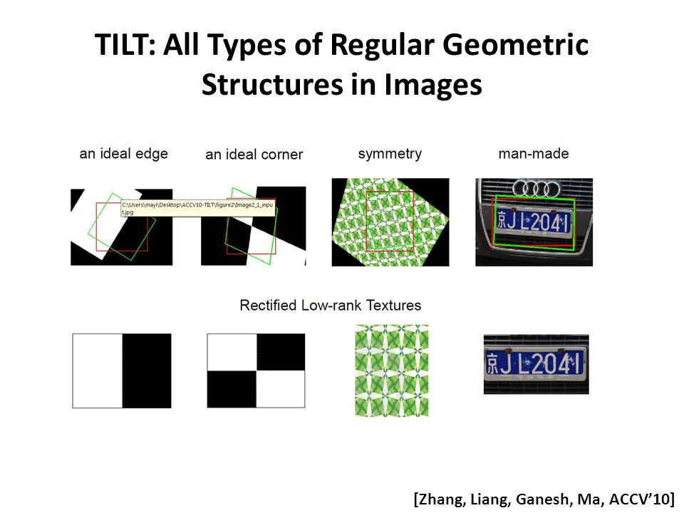 TILT: All Types of Regular Geometric Structures in Images [Zhang, Liang, Ganesh, Ma, ACCV'10]