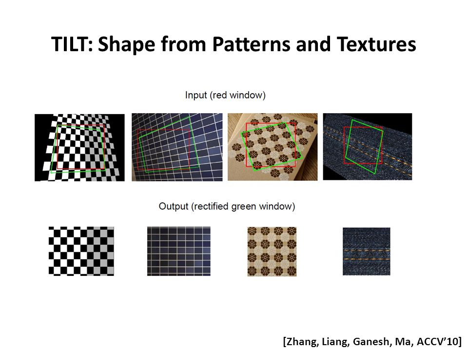 TILT: Shape from Patterns and Textures [Zhang, Liang, Ganesh, Ma, ACCV'10]