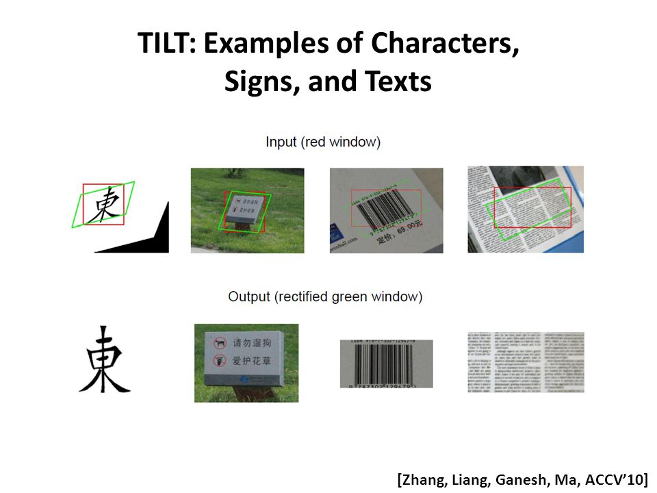 TILT: Examples of Characters, Signs, and Texts [Zhang, Liang, Ganesh, Ma, ACCV'10]