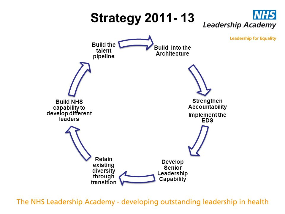 Build into the Architecture Strengthen Accountability Implement the EDS Develop Senior Leadership Capability Retain existing diversity through transition Build NHS capability to develop different leaders Build the talent pipeline Strategy 2011- 13