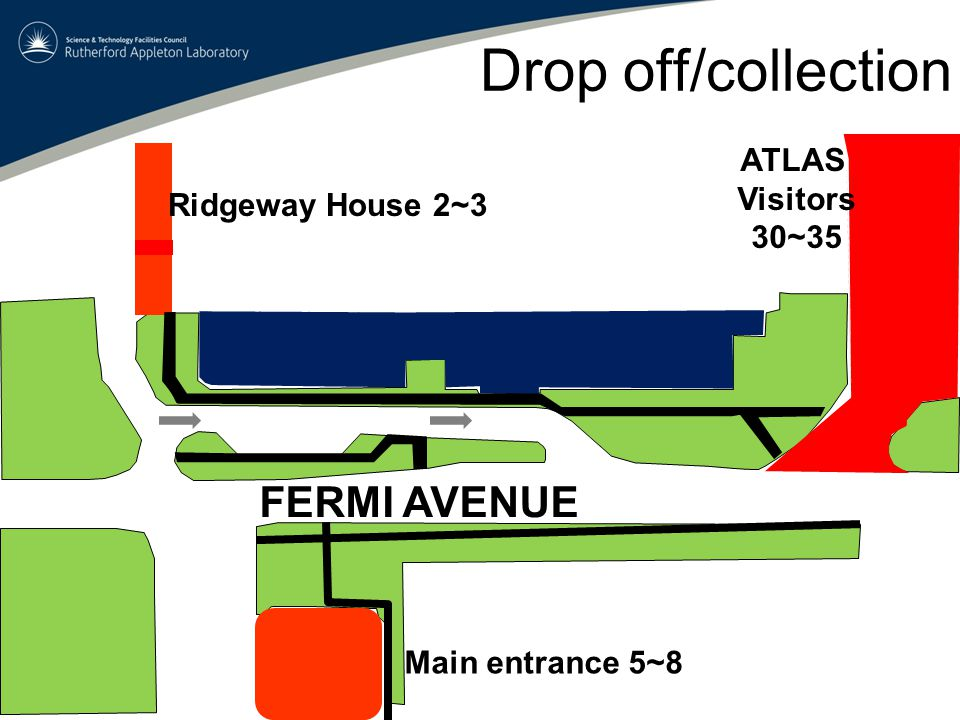 Drop off/collection Ridgeway House 2~3 Main entrance 5~8 ATLAS Visitors 30~35 FERMI AVENUE