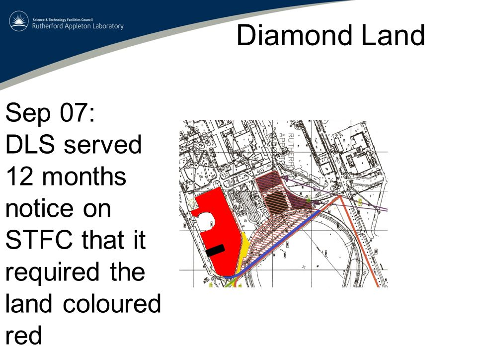 Diamond Land Sep 07: DLS served 12 months notice on STFC that it required the land coloured red