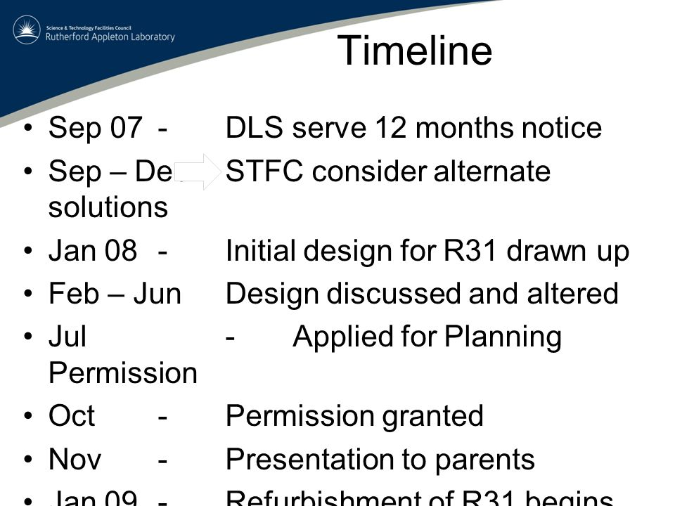 Timeline Sep 07-DLS serve 12 months notice Sep – DecSTFC consider alternate solutions Jan 08-Initial design for R31 drawn up Feb – JunDesign discussed and altered Jul -Applied for Planning Permission Oct-Permission granted Nov-Presentation to parents Jan 09-Refurbishment of R31 begins Jul 09-Nursery relocates