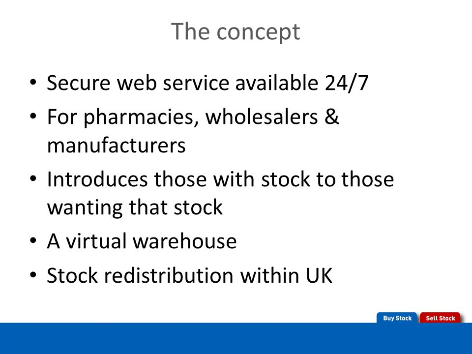 The concept Secure web service available 24/7 For pharmacies, wholesalers & manufacturers Introduces those with stock to those wanting that stock A virtual warehouse Stock redistribution within UK