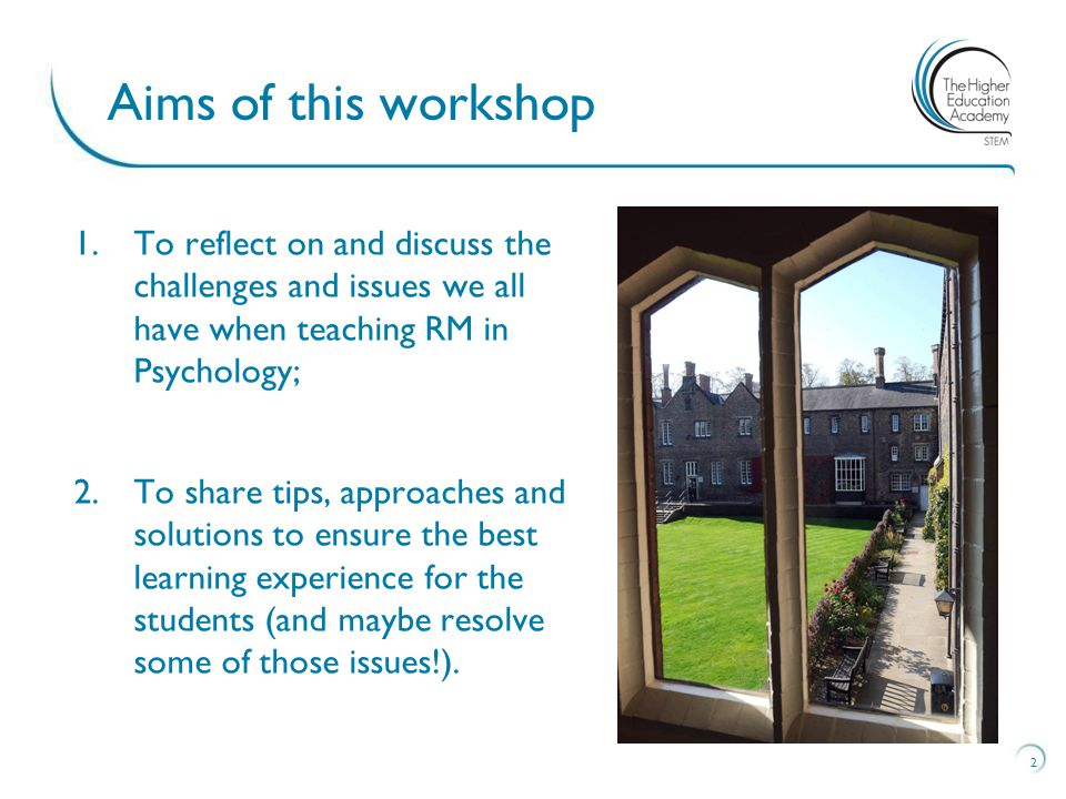 1.To reflect on and discuss the challenges and issues we all have when teaching RM in Psychology; 2.To share tips, approaches and solutions to ensure the best learning experience for the students (and maybe resolve some of those issues!).