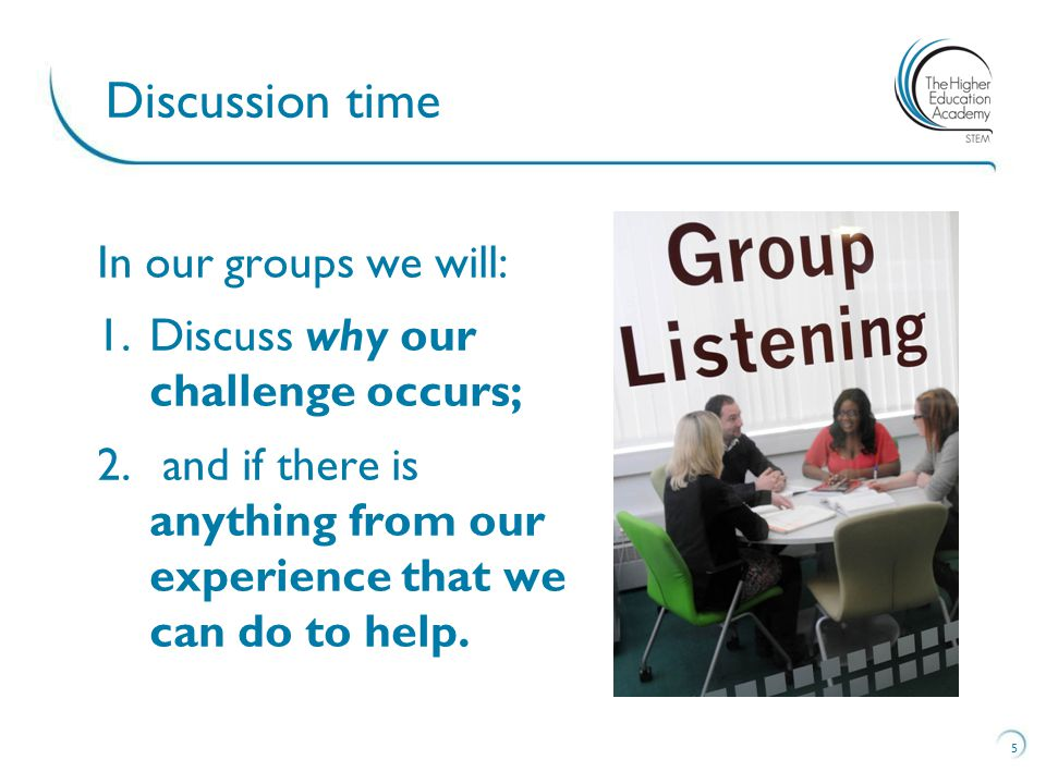 In our groups we will: 1.Discuss why our challenge occurs; 2.