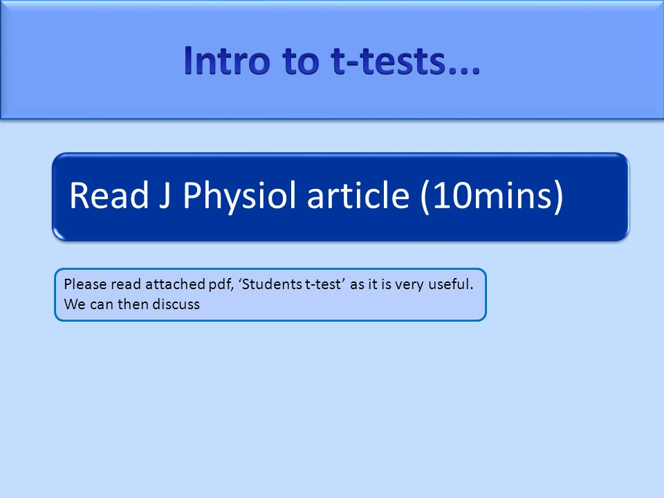 Read J Physiol article (10mins) Please read attached pdf, 'Students t-test' as it is very useful.