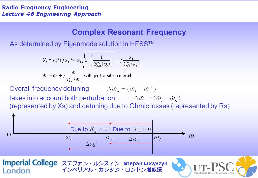 Radio Frequency Engineering Lecture #6 Engineering Approach Stepan Lucyszyn ステファン・ルシズィン インペリアル・カレッジ・ロンドン准教授 Complex Resonant Frequency As determined by Eigenmode solution in HFSS TM Overall frequency detuning takes into account both perturbation (represented by Xs) and detuning due to Ohmic losses (represented by Rs) Due to