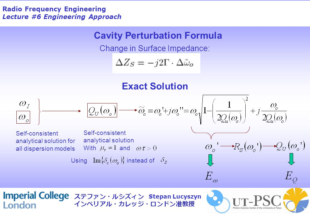 Radio Frequency Engineering Lecture #6 Engineering Approach Stepan Lucyszyn ステファン・ルシズィン インペリアル・カレッジ・ロンドン准教授 Exact Solution Self-consistent analytical solution for all dispersion models Self-consistent analytical solution With and Usinginstead of Change in Surface Impedance: Cavity Perturbation Formula