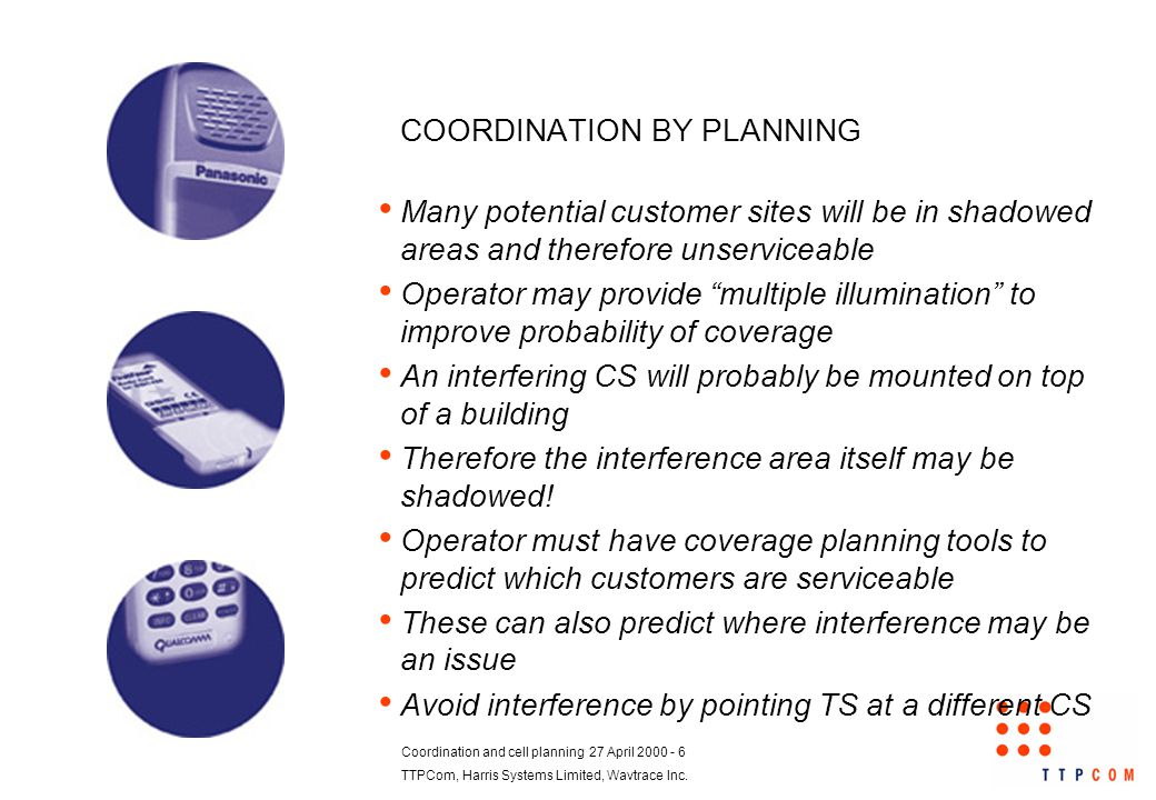 Coordination and cell planning 27 April 2000 - 6 TTPCom, Harris Systems Limited, Wavtrace Inc.