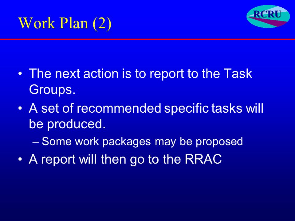 Work Plan (2) The next action is to report to the Task Groups.