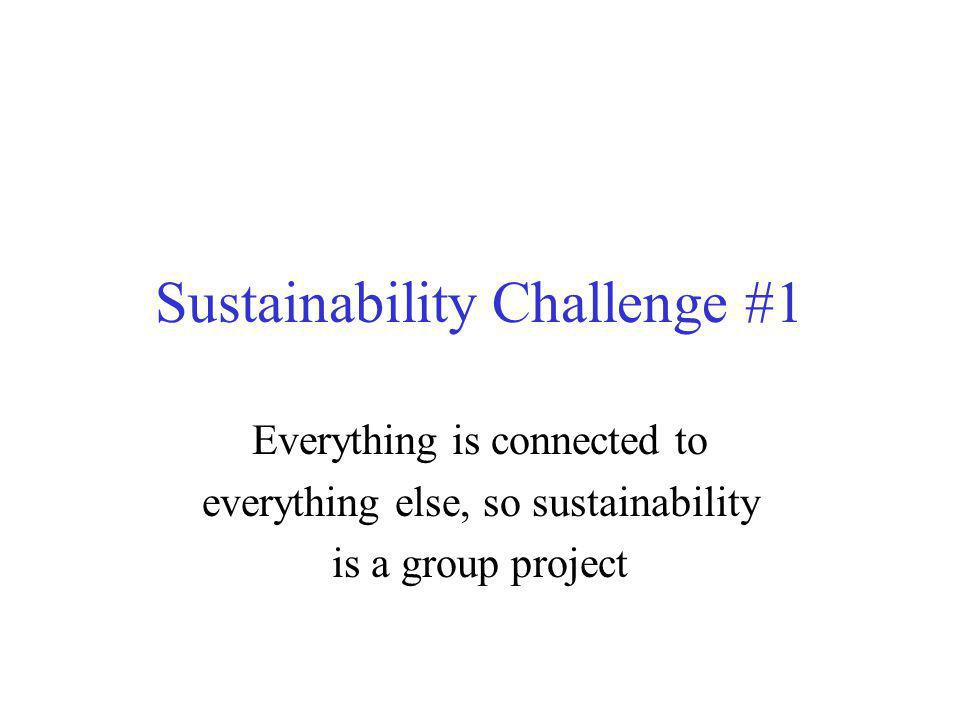 Sustainability Challenge #1 Everything is connected to everything else, so sustainability is a group project